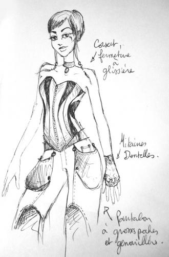 Dessin de recherche pour un corset