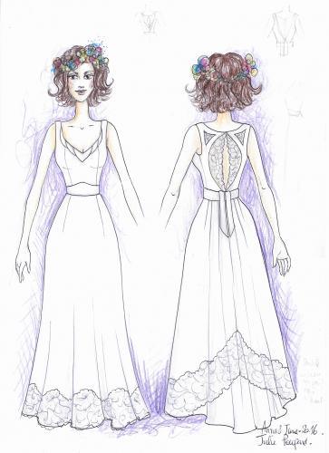 Exemple : dessin original de la robe sur mesure de Julie P.