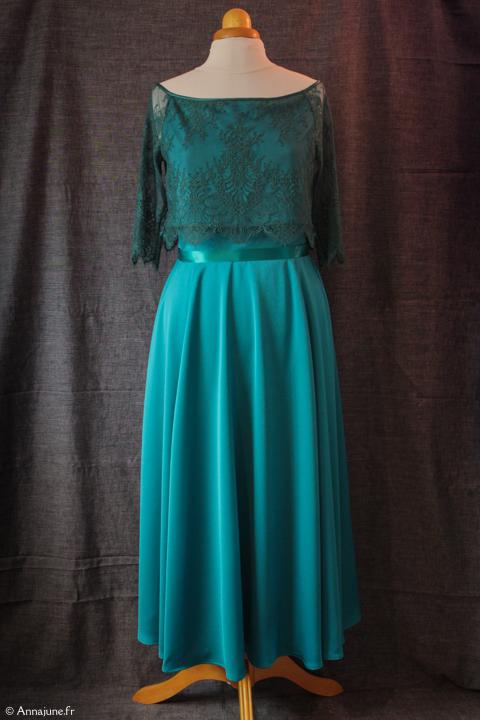 Robe de demoiselle d'honneur vert émeraude, robe de demoiselle d'honneur top en dentelle, robe vert émeraude dentelle, robe vert canard, robe dentelle chantilly vert bleu